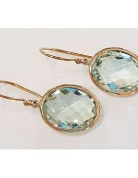 9ct Gold Green Amethyst Oval Earrings