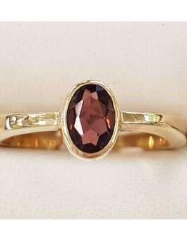 9ct Yellow Gold Oval Pink Tourmaline Bezel Set Ring