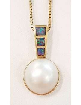 Gold Opal and Pearl Pendant on Chain