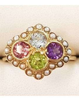 9ct Gold Multi-Coloured Gemstone Ring - Pink Tourmaline, Topaz, Peridot, Amethyst and Seedpearl