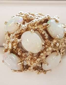 9ct Gold Large Cluster Ring set with 5 Solid Opals