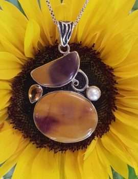 Sterling Silver Mookaite Jasper, Citrine and Pearl Pendant on Chain