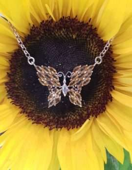 Sterling Silver Butterfly Necklace - Available in Peridot or Citrine