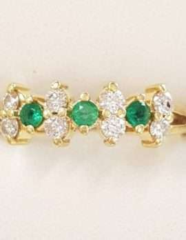 9ct Gold Natural Emerald and Diamond Ring