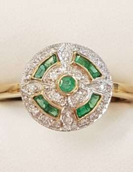 9ct Gold Natural Emerald and Diamond Round Ring