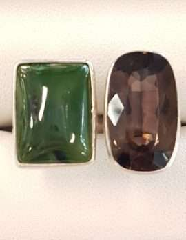 Sterling Silver Jade and Smokey Quartz Ring