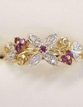 9ct Gold Floral Rhodolite Garnet and Diamond Ring