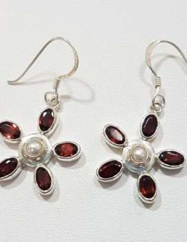 Sterling Silver Pearl and Garnet Flower Earrings