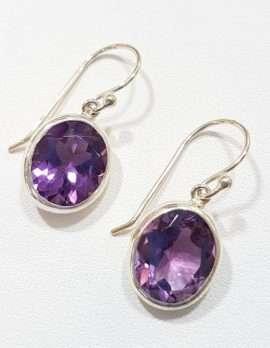 Sterling Silver Oval Bezel Set Amethyst Earrings
