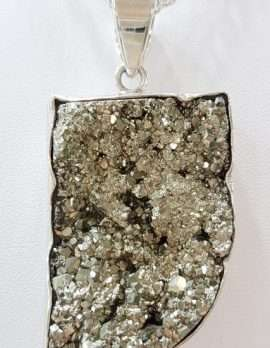 Sterling Silver Large Pyrite Pendant on Chain