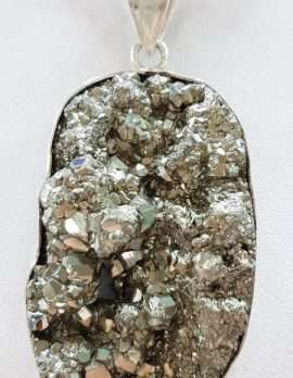 Sterling Silver Large Oval Pyrite Pendant on Chain