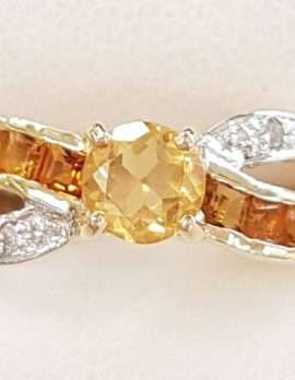 9ct Yellow Gold Channel Set Citrine and Diamond Twist Ring