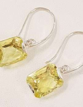 Sterling Silver Citrine Rectangular Drop Earrings