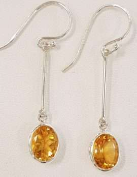 Sterling Silver Long Line Oval Bezel Set Citrine Drop Earrings