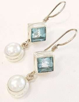 Sterling Silver Blue Topaz and Pearl Drop Earrings Earrings