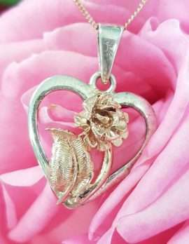 Sterling Silver and 9ct Rose Gold Rose in Heart Pendant on Chain