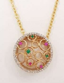 9ct Yellow Gold Natural Ruby, Emerald and Diamond Pendant on 9ct Chain