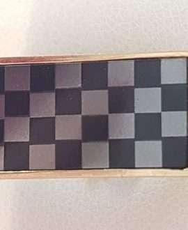 9ct Gold Onyx, Hematite / Iron Ore and Diamond Checkerboard Gents Ring