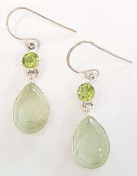 Sterling Silver Prehonite and Peridot Earrings