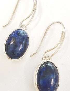 Sterling Silver Oval Lapis Lazuli Drop Earrings