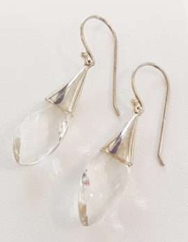Sterling Silver Long Clear Quartz Drop Earrings