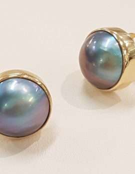 9ct Gold Round Black Pearl Bezel Set Stud Earrings