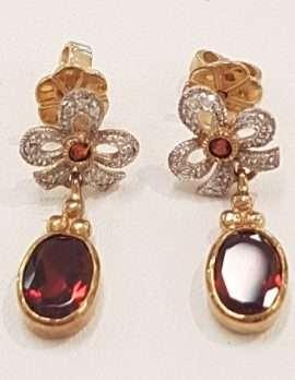 Garnet Diamond Bow Earrings
