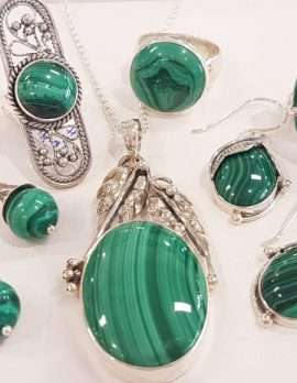 Assorted Sterling Silver Malachite Jewellery