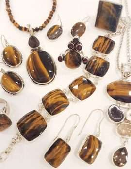 Assorted Sterling Silver Tiger Eye Jewellery