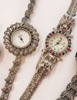 Assorted Sterling Silver Marcasite Watches - Sold Separately - Quartz Movement - New