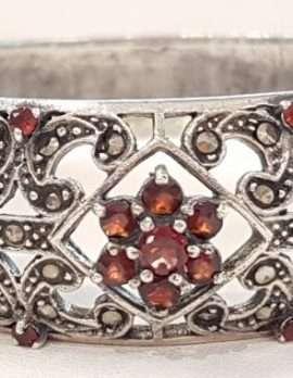 Sterling Silver Marcasite and Garnet Ornate Wide Bangle