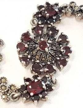 Sterling Silver Marcasite and Garnet Bracelet - Floral Circle
