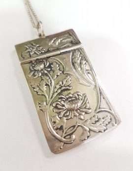 Sterling Silver Ornate Notebook Pendant on Chain - Art Nouveau Style - New