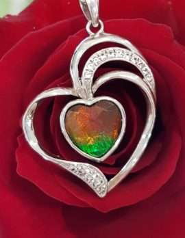 Sterling Silver Ammolite and CZ Heart Pendant on Chain