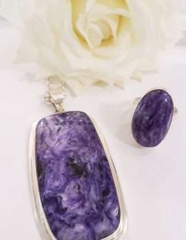Sterling Silver Large Charoite Pendant on Sterling Silver Chain & Ring - Items Sold Separately