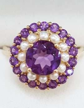 9ct Gold Amethyst and Seedpearl Cluster Ring