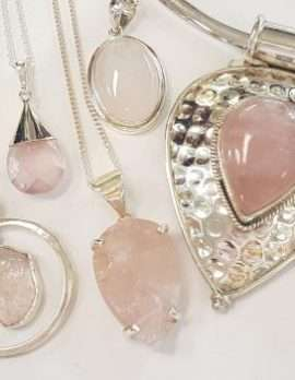 Sterling Silver Assorted Rose Quartz Pendants on Chains - Items Sold Separetely