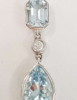 9ct White Gold Aquamarine Pendant on 9ct Chain