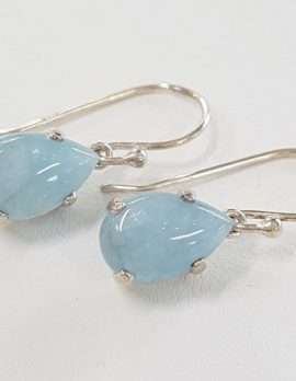 Sterling Silver Aquamarine Teardrop Earrings
