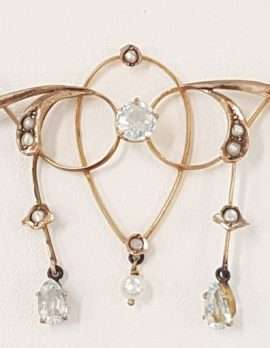 9ct Gold Aquamarine and Seedpearl Antique Necklace