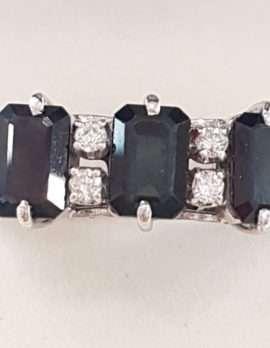 14ct White Gold Diamond & Sapphire Ring