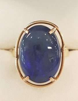 9ct Gold, Large, Oval, Blue Opal Ring