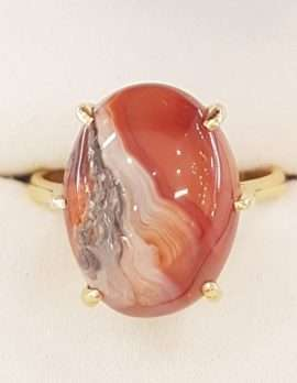 9ct Gold Large Oval Agate Ring
