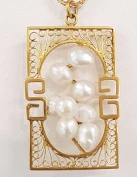 14ct Gold Filigree Design Pendant set with 8 Pearls - on Chain