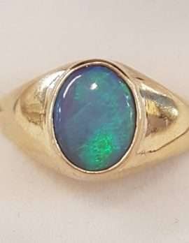 9ct Gold Oval Opal Gents Ring