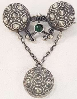 800 Silver Ornate Drop with Green Stone Brooch