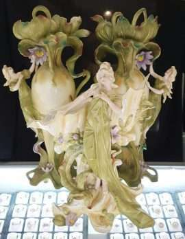 Set of 3 Tall Vases - Nouveau Ladies - Bisque