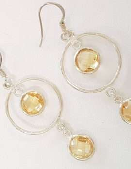 Sterling Silver Citrine Drop Earrings