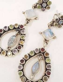 Sterling Silver Large Multi Gemstone Drop Earrings