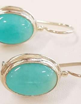 Sterling Silver Oval Amazonite Earrings